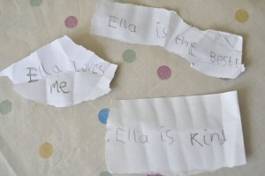 Day 36:  Love notes written by Mimi to give to Ella