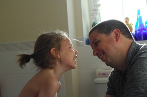 Day 417:  Capturing moments of the relationship between my husband and our daughters