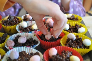 Day 44:  Making chocolate Easter nests with the girls