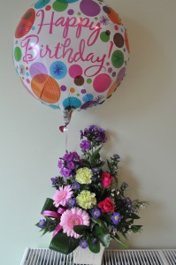 Day 64: My birthday!  A surprise delivery of flowers and a balloon from husband-to-be :)