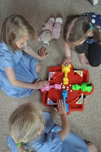 Day 90:  Hearing the shouts of laughter from my girls as they spent at least 15 minutes after school playing Hungry Hippos together