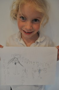 "Day 121:  Mimi drawing this picture for me ""because I love you and because you are the best Mummy in the world"""