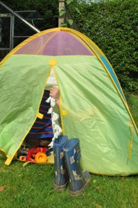 Day 155:  Spending time with my friend and her children, who had a brilliant time playing in a tent in the garden while we caught up on each other's news. No photo of us unfortunately - we were too busy chatting!