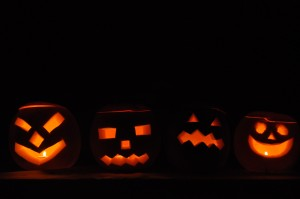 Day 240:  Carving pumpkins with a witch, a cat and a pirate!