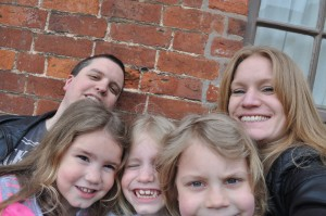 Day 396:  We only get one full day a week together as a family, even in the Easter holidays, so we try and make the most of it by going out for the day.  This is a family selfie of us all at Shugborough Farm on Easter Sunday :)