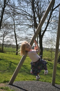 Day 409:  The girls and I discovered and explored a new park today.  The zip-wire was the definite favourite!