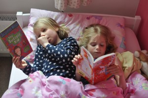 Day 444:  A Saturday morning trip to the library = a Saturday afternoon spent snuggled up in bed together reading books :)