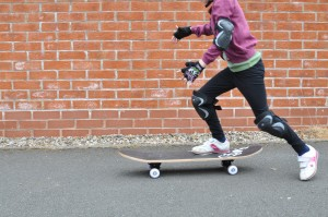 Day 446:  Mimi got a skateboard for her birthday - she got the hang of it pretty quickly (though still needs a bit more practice)