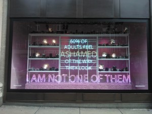"Day 77:  This display in Selfridges window really made me stop and look.  And the thought that ran through my head was a rather satisfying ""I am not one of them - I  am happy with my body"".  :)"